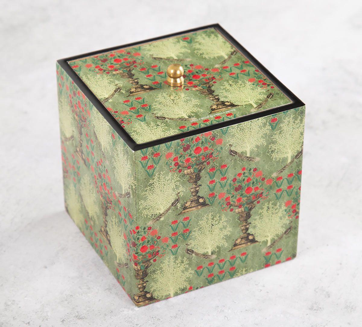 India Circus Floral Pillar Crest Square Storage Box