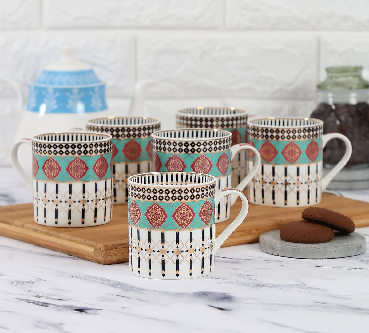 India Circus Floral Reed Coffee Mug Set of 6