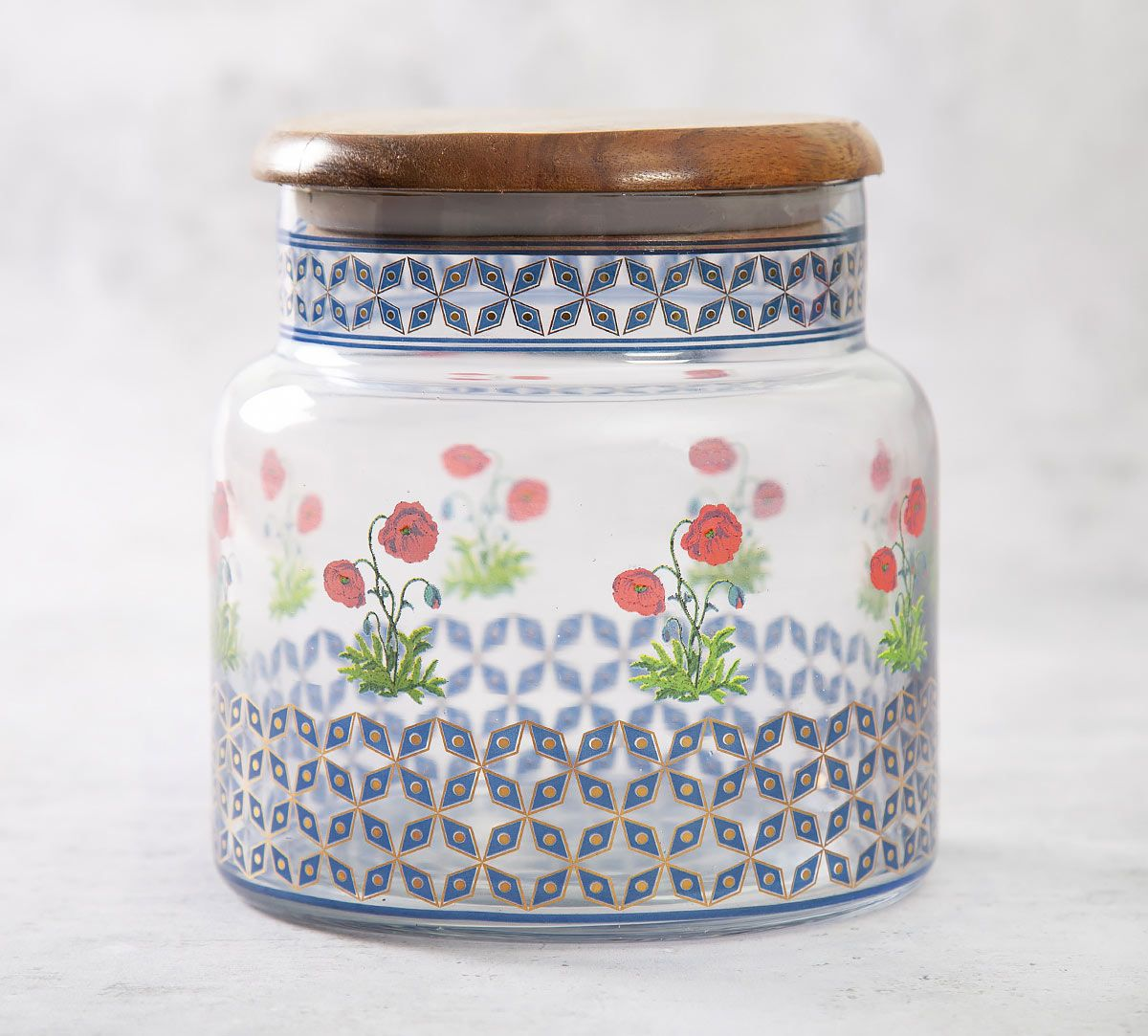 India Circus Flowers and Ferns Glass Jar