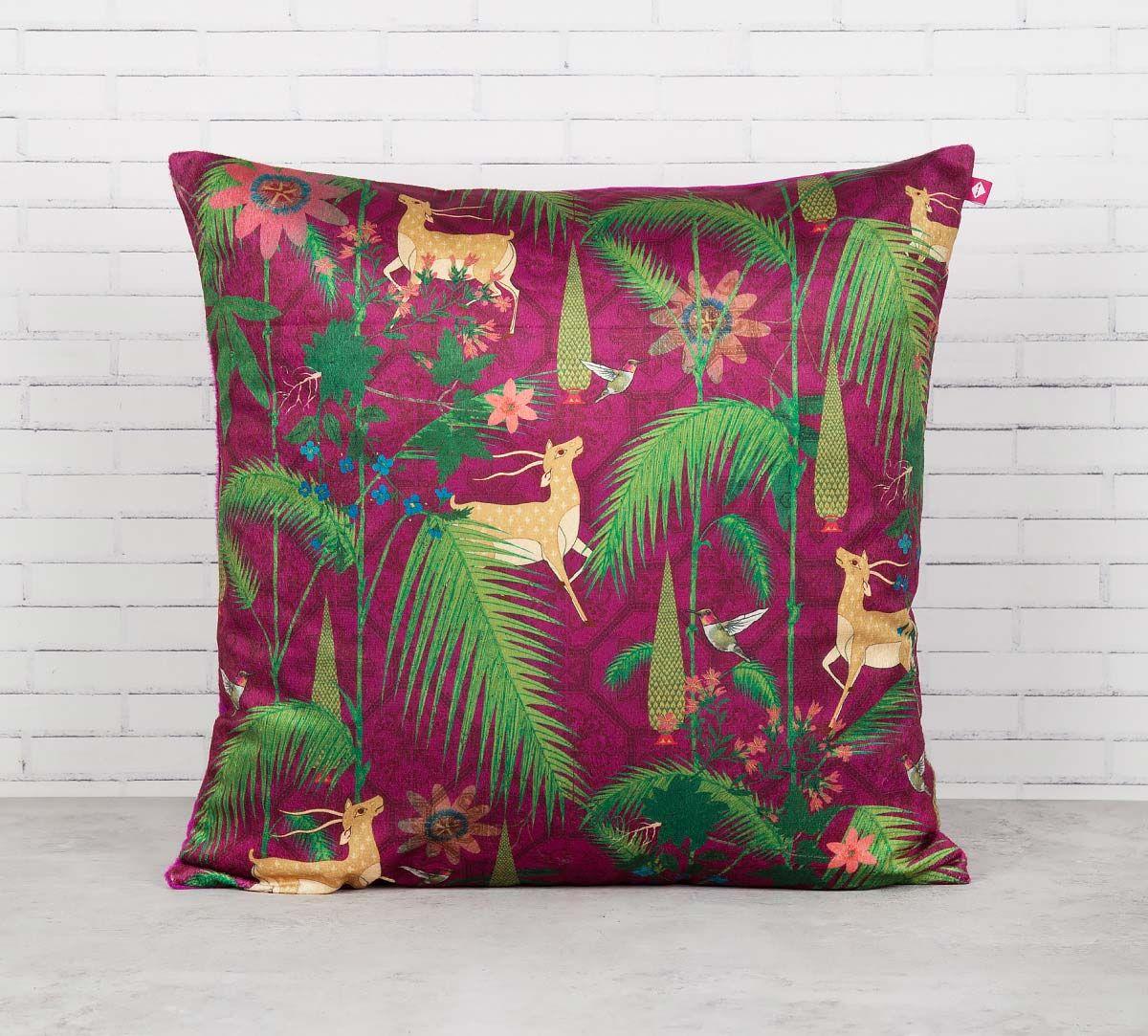India Circus Forest Fetish Blended Velvet Cushion Cover