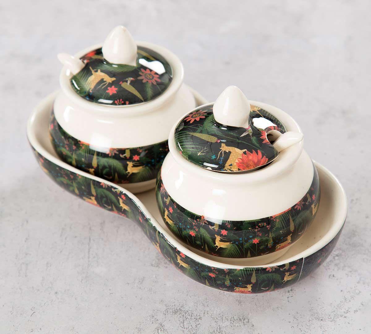 India Circus Forest Fetish Ceramic Pickle Jar