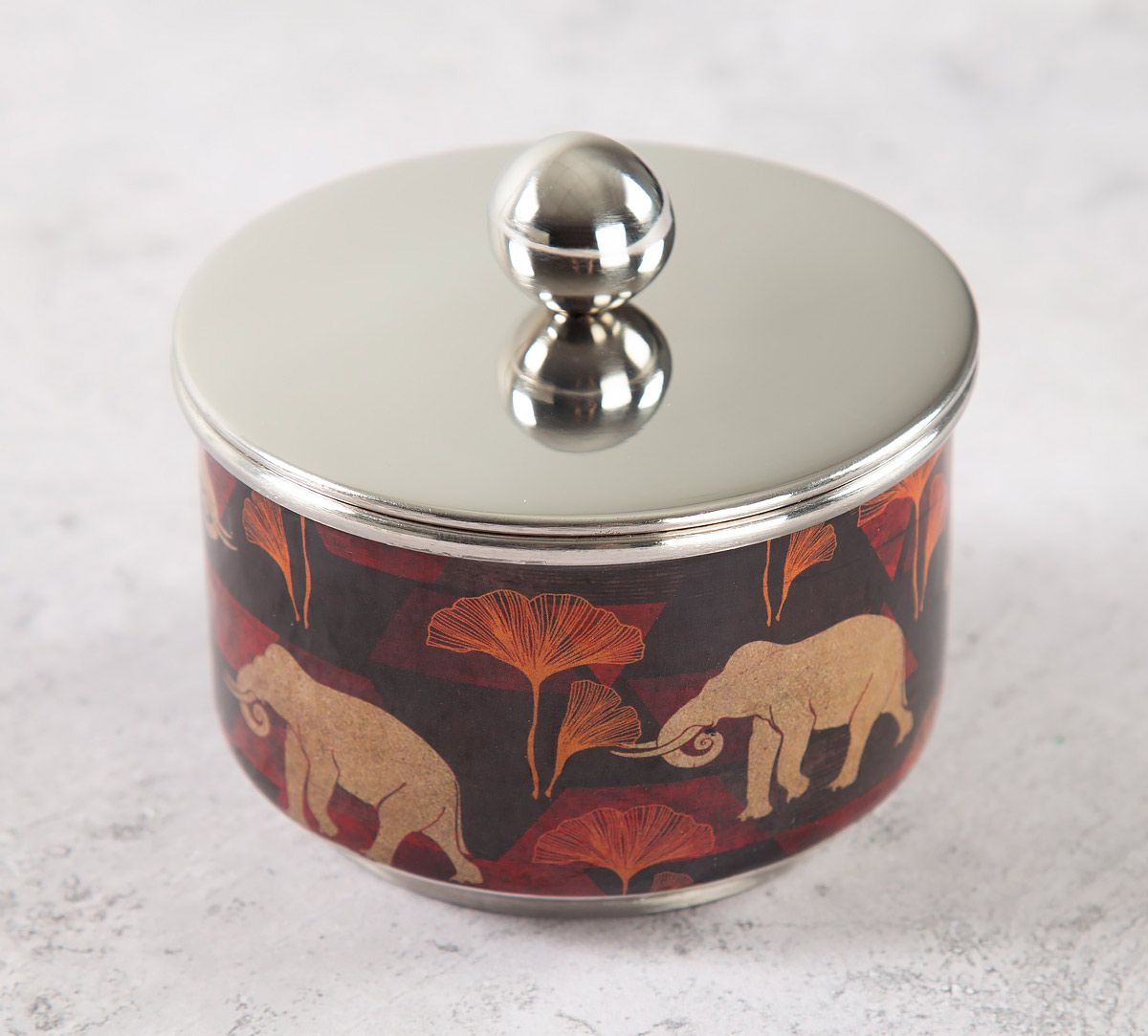 India Circus Gallant Tusker Steel Bowl with Lid