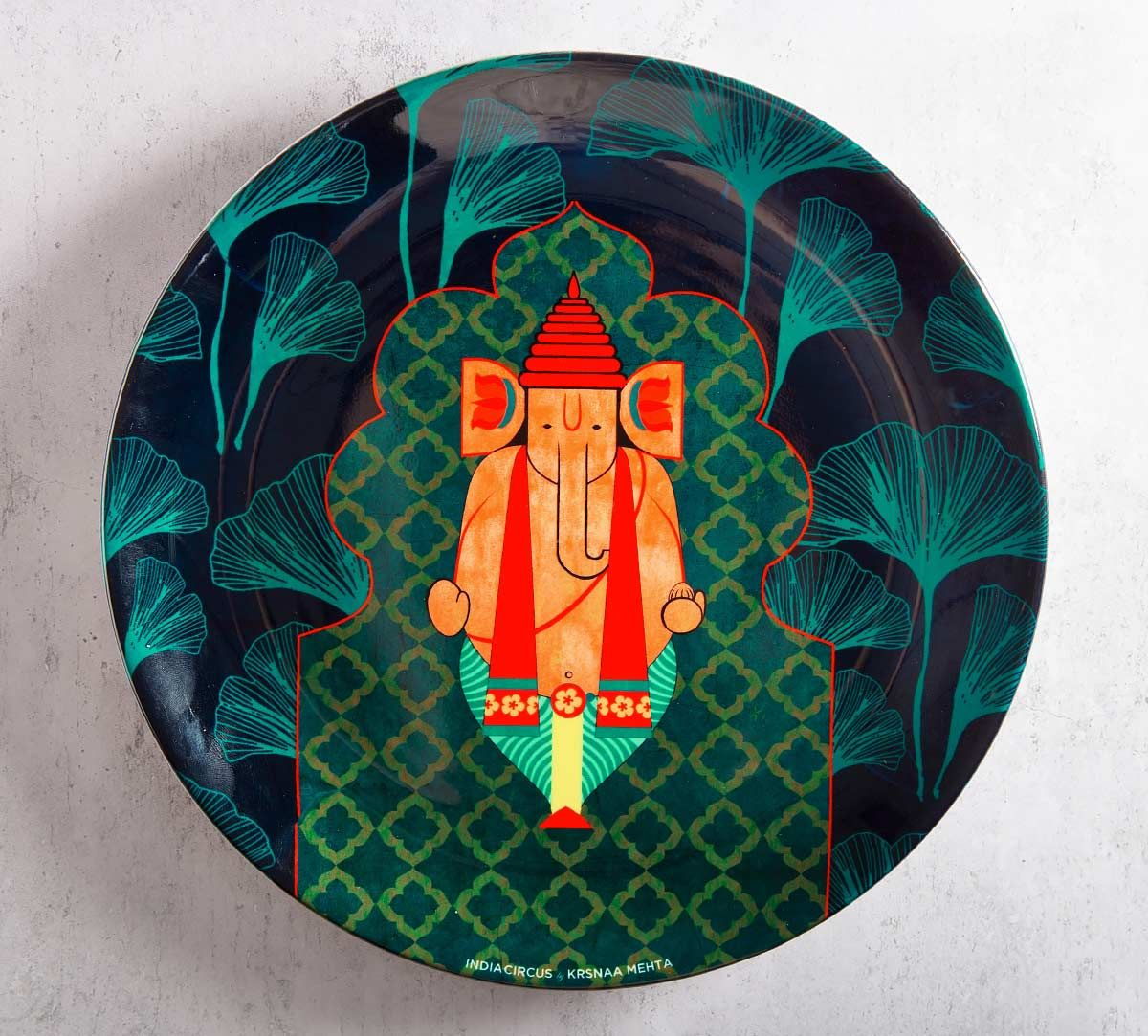 India Circus Ganeshas Riad Arch 10 inch Decorative and Snacks Platter