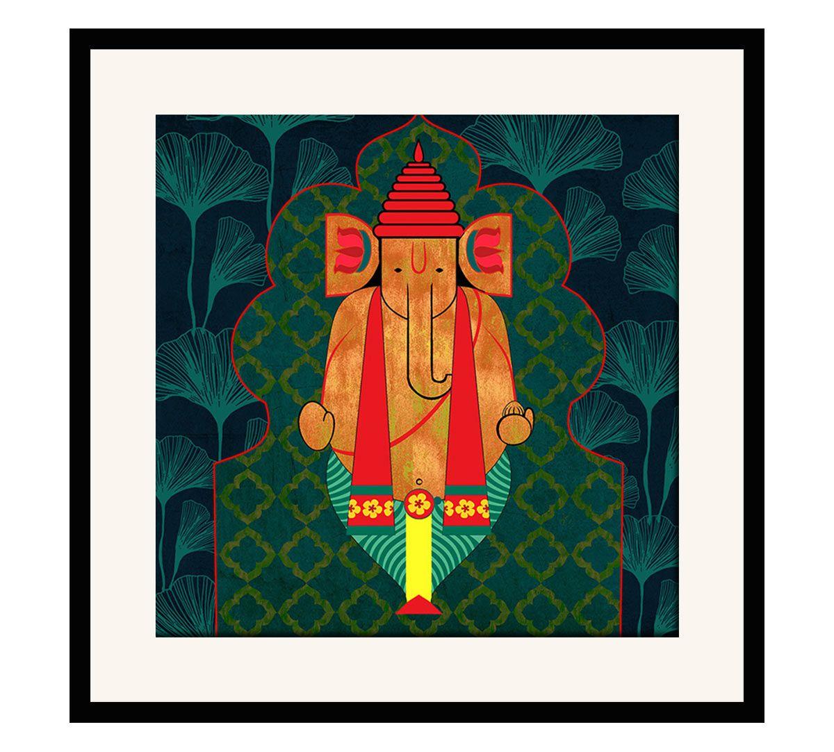 India Circus Ganesha's Riad Arch 16 x 16 and 24 x 24 Framed Wall Art