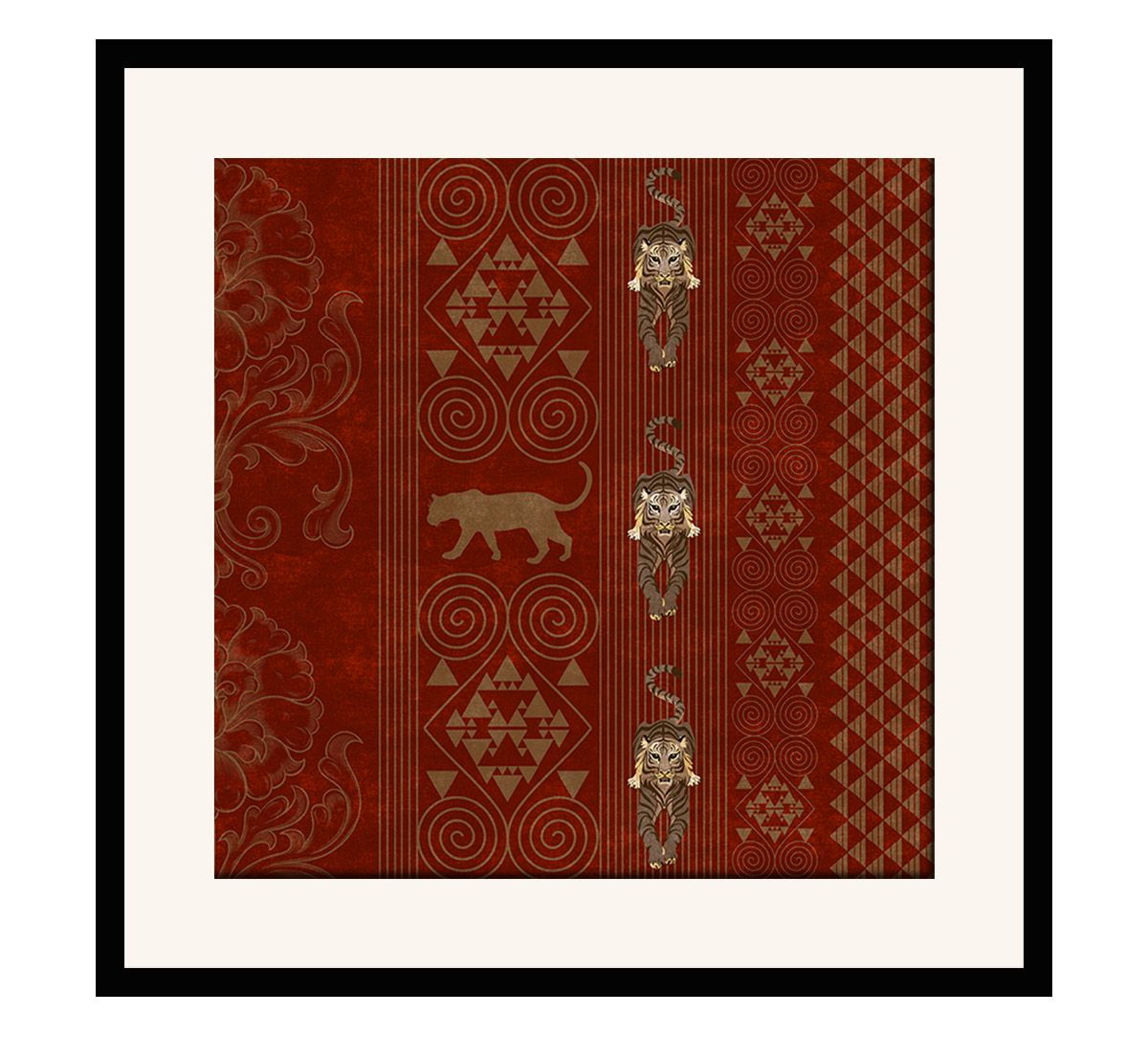India Circus Geometrical Empress 16 x 16 and 24 x 24 Framed Wall Art