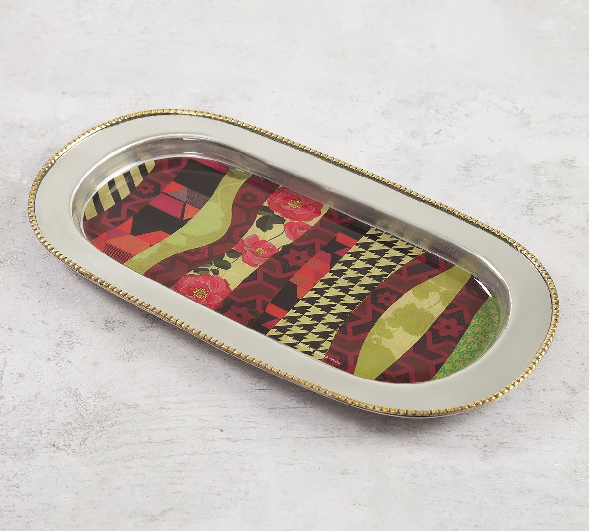 India Circus Geometrical Straps Steel Serving Tray