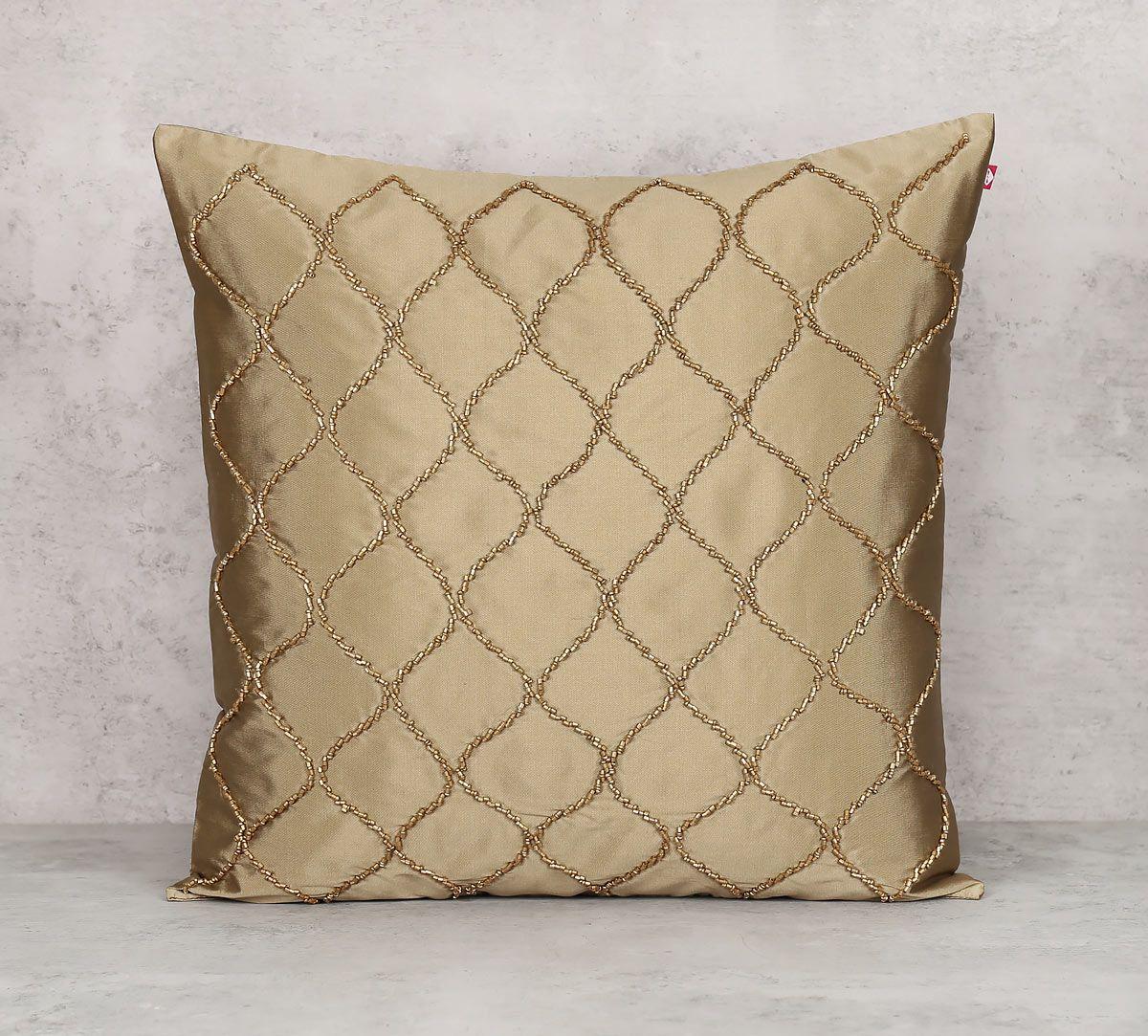 India Circus Gold Bead Beige Cushion Cover