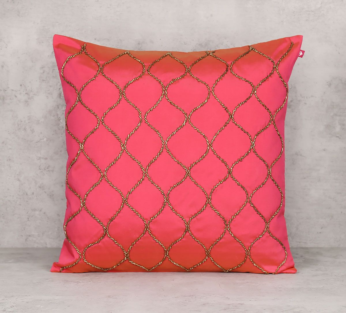 India Circus Gold Bead Pink Cushion Cover