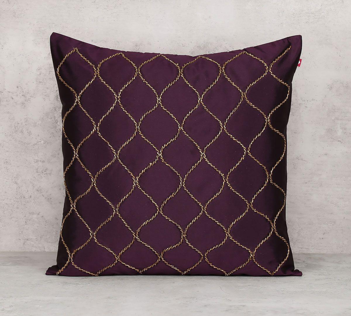 India Circus Gold Bead Purple Cushion Cover
