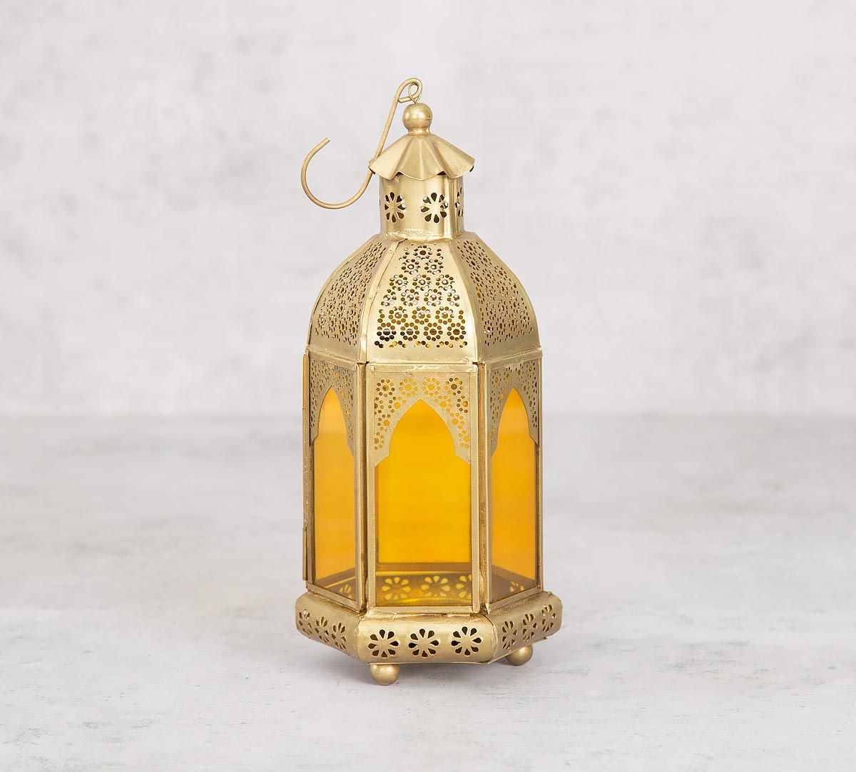 India Circus Gold Rosette Iron Candle Lantern
