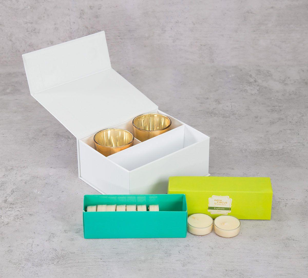 India Circus Golden Glass Votives Gift Box (Set of 2)