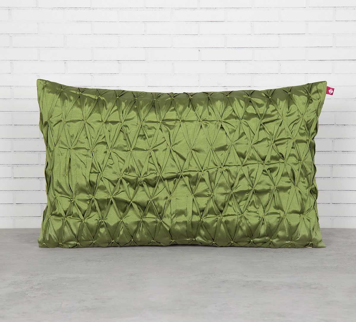 India Circus Green Pucker Rectangle Satin Blend Cushion Cover