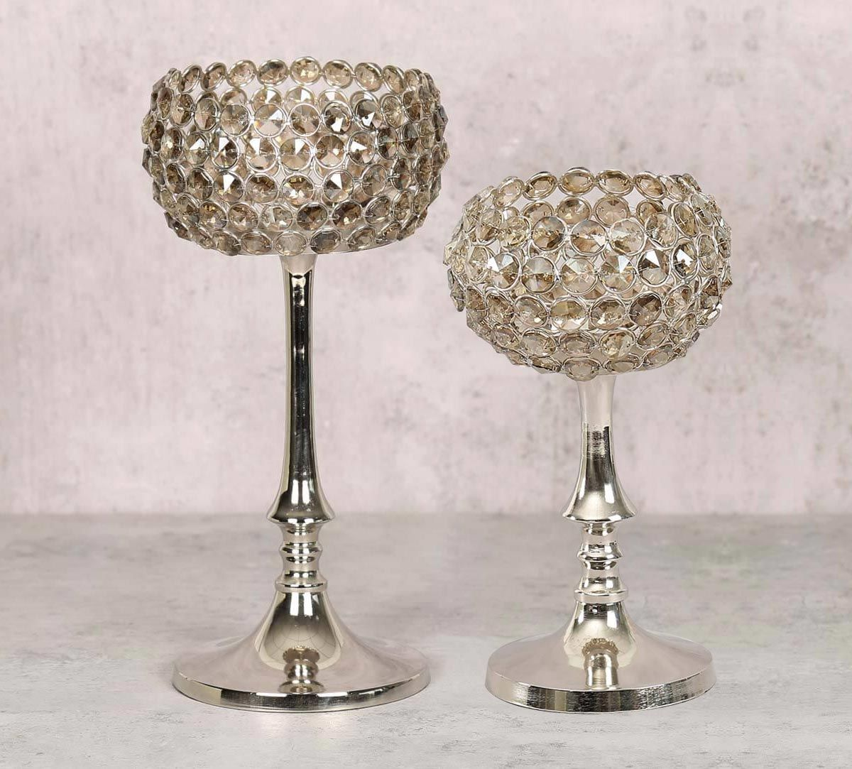 India Circus Grey Crystal Candle Holder Set of 2