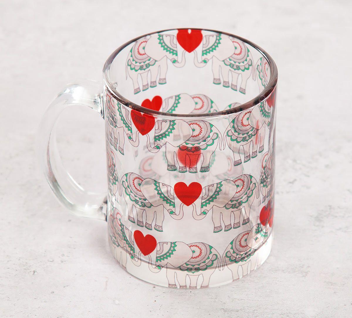 India Circus Heart Tusker Glass Mug