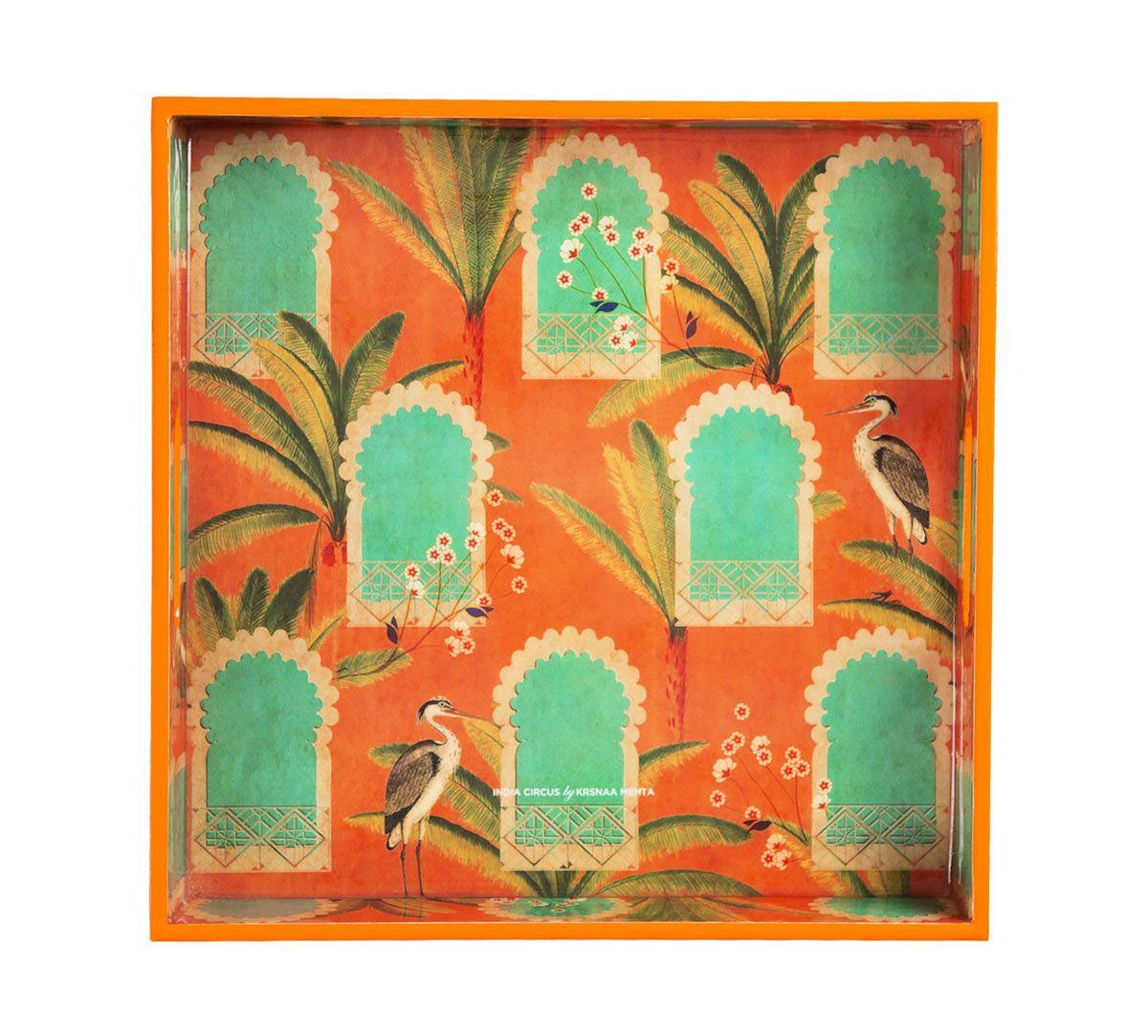 India Circus Heron's Palace Square Tray