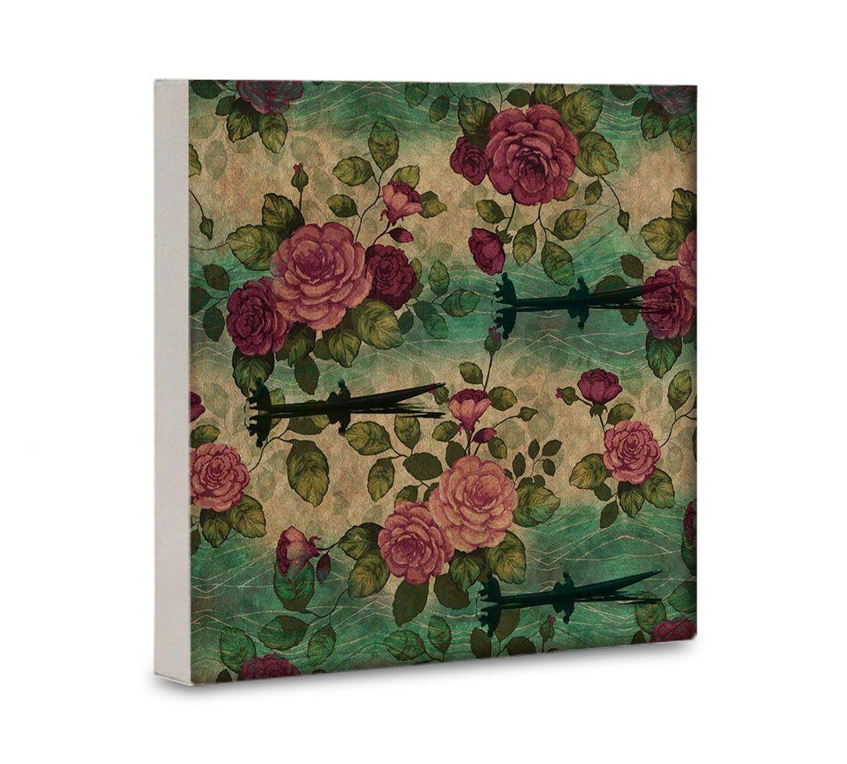 India Cirucs Lakeside Roses Canvas Wall Art