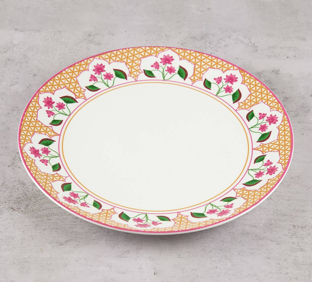 India Circus Lattice Lotus Dinner Plate