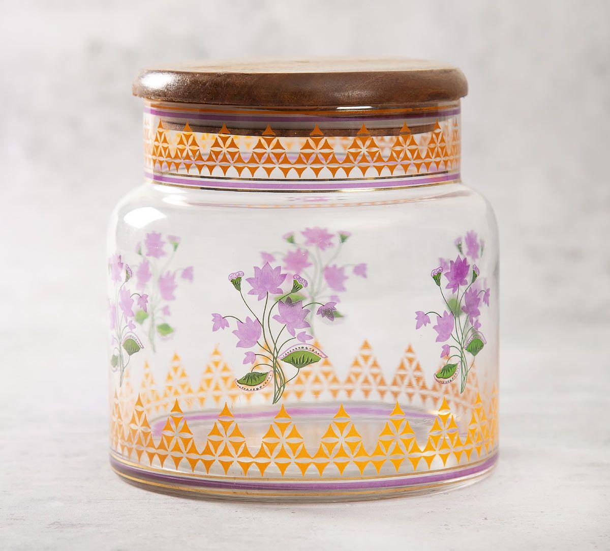 India Circus Lattice Lotus Glass Jar