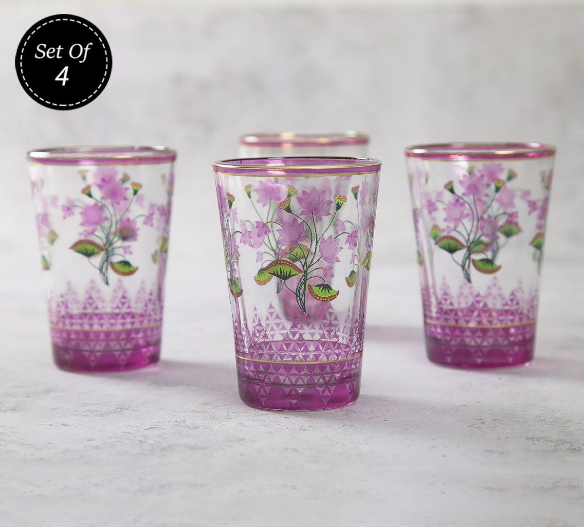 India Circus Lattice Lotus Chai Glass (Set of 4)