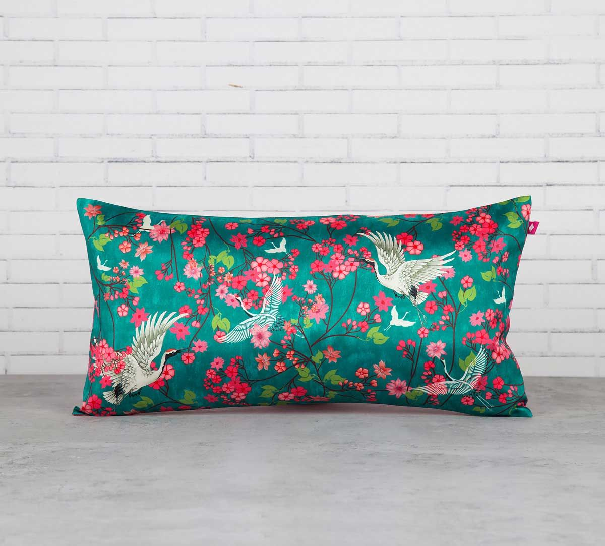 India Circus Legendary Cranes Floral Flutter Blended Taf Silk Cushion Cover