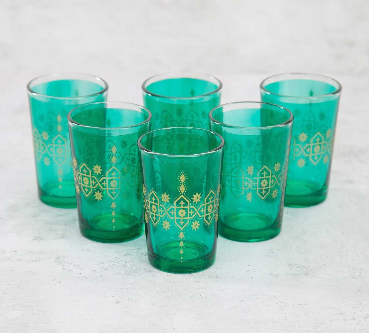 India Circus Lionheart Green Moroccan Glasses Set of 6