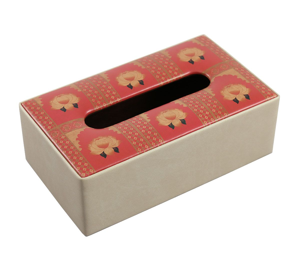 India Circus Lotus Darbar Leather Tissue Box Holder