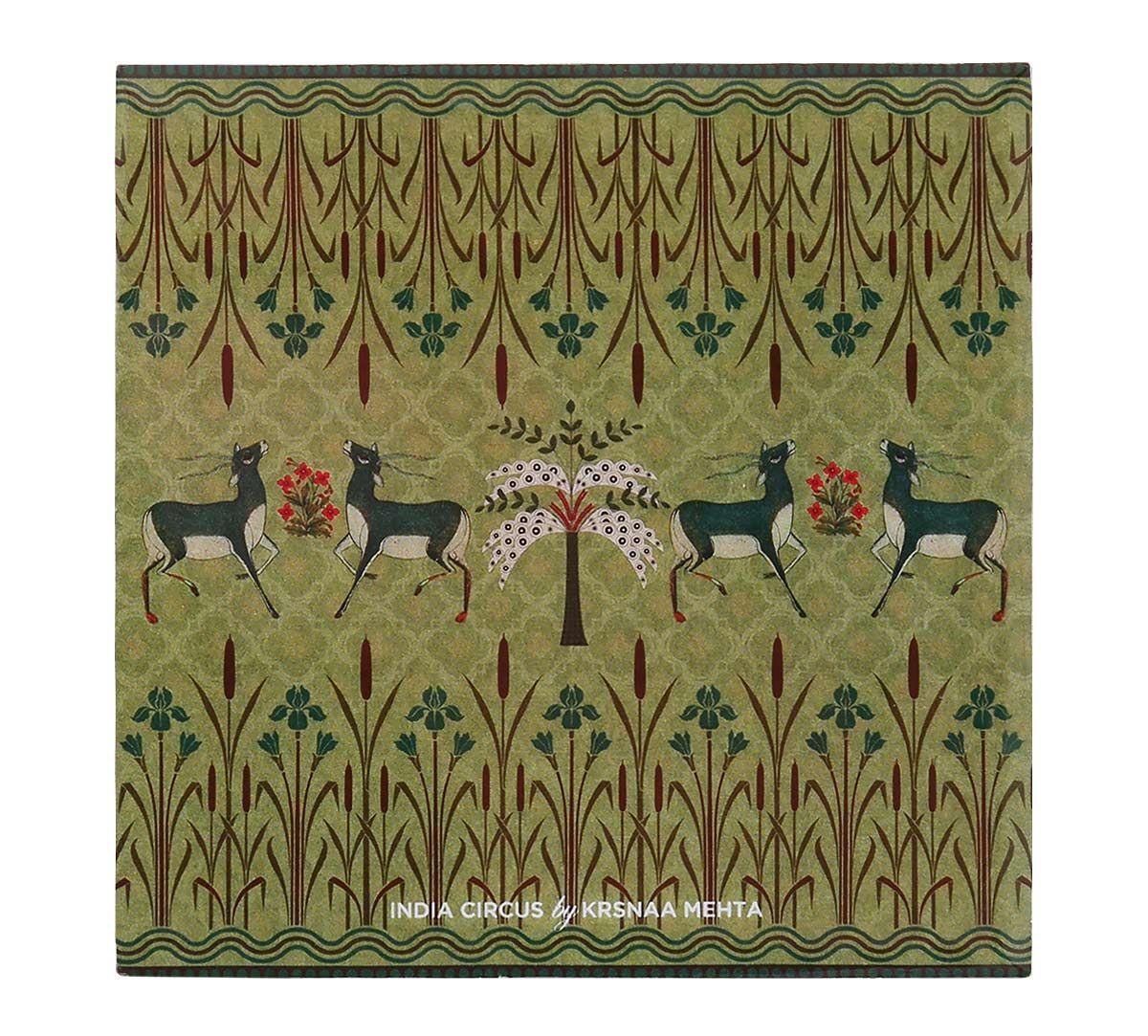 India Circus Mirroring Deer Garden MDF Table Coaster Set of 6
