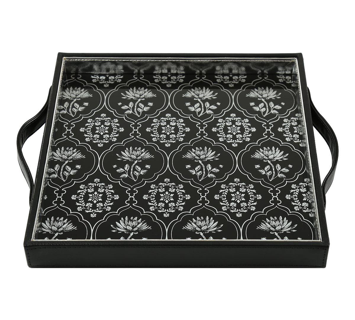 India Circus Monochrome Lotus Reiteration Leather Tray