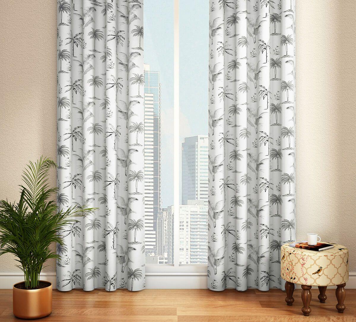 India Circus Monochrome Palms Door Curtain