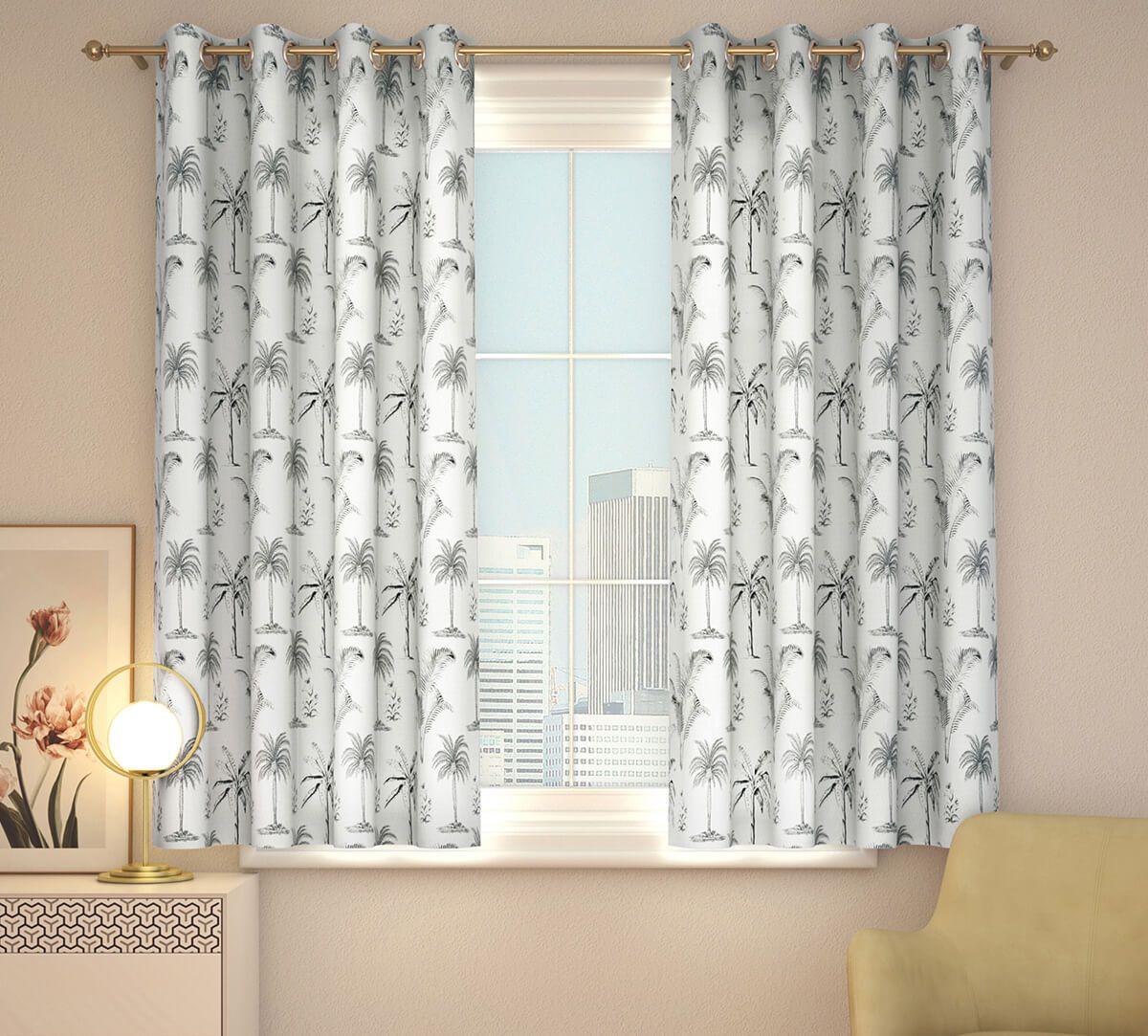 India Circus Monochrome Palms Window Curtain