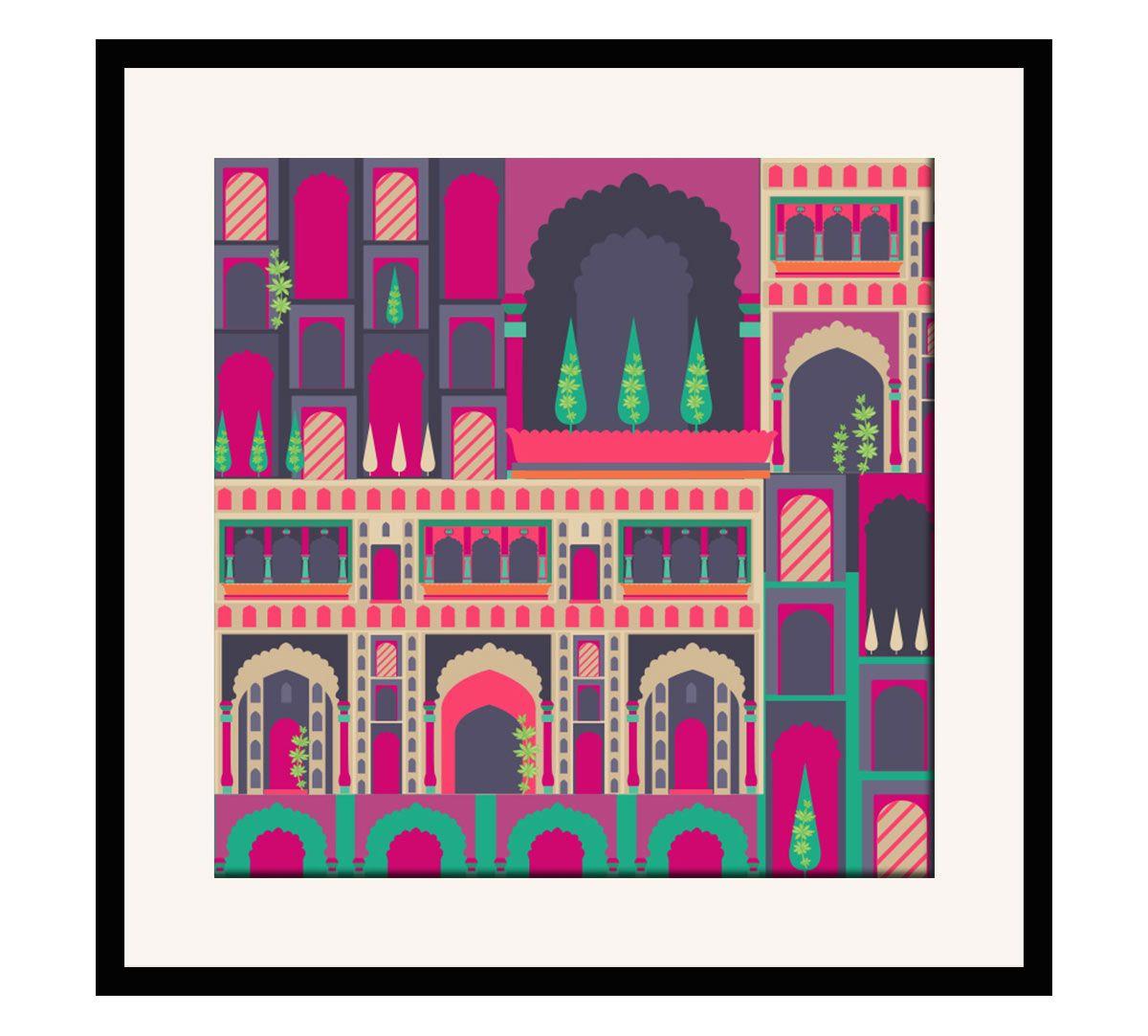 India Circus Mughal Corridor 16 x 16 and 24 x 24 Framed Wall Art
