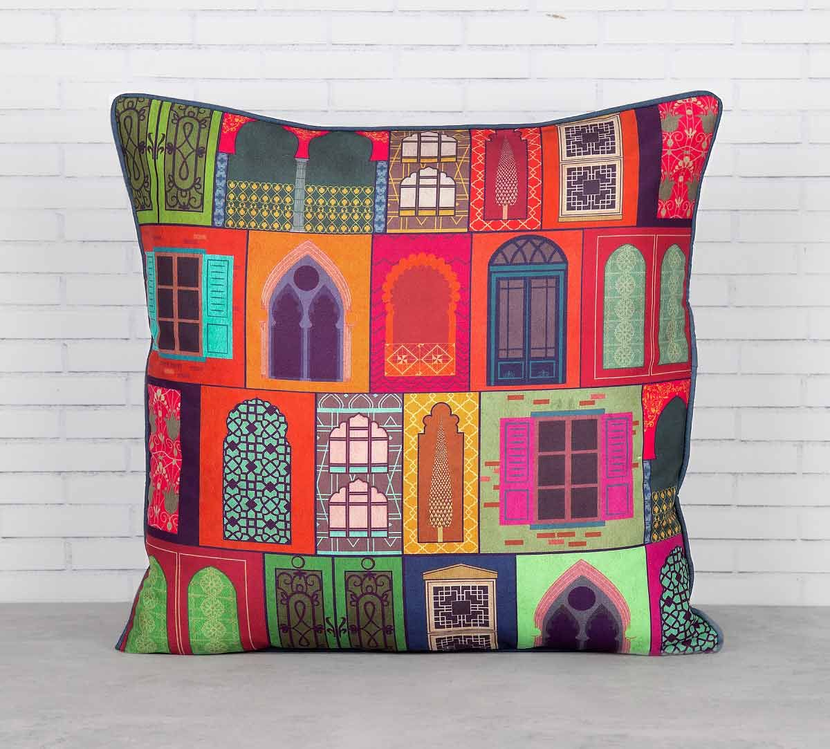 India Circus Mughal Doors Reiteration Blended Taf Silk Cushion Cover
