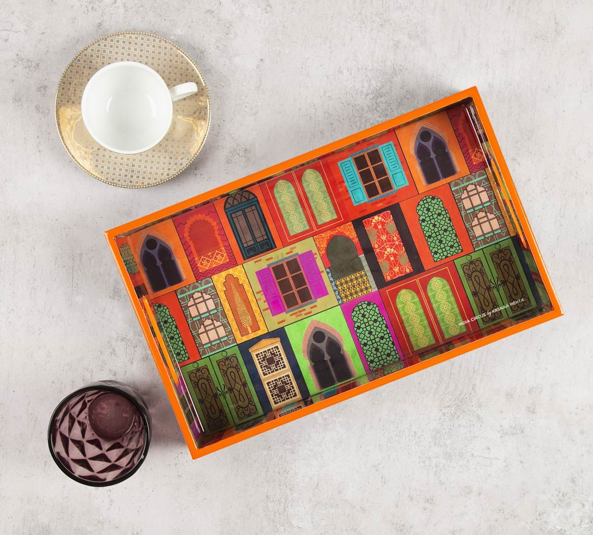 India Circus Mughal Doors Reiteration Rectangle Serving Tray