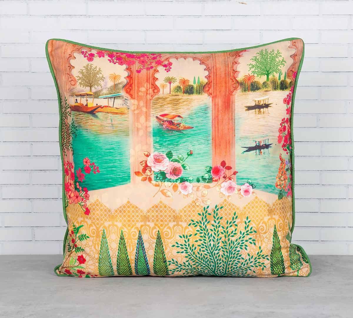 India Circus Panoramic Backwaters Blended Taf Silk Cushion Cover