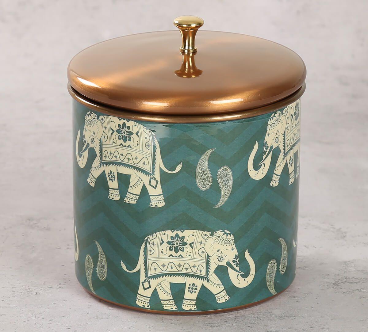 India Circus Parading Tuskers Storage Jar