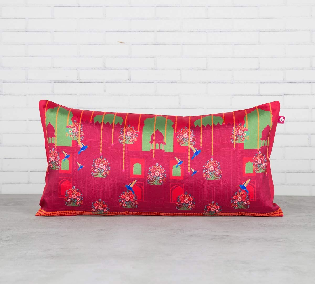 India Circus Passerines Palatial Paradise Blended Taf Silk Cushion Cover