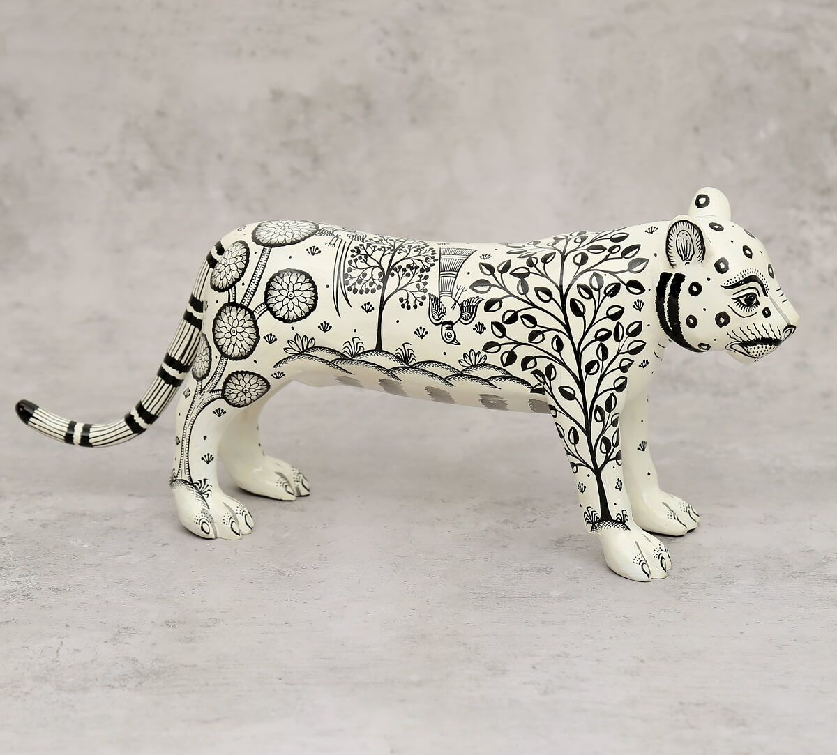 India Circus Pattachitra Art White Tiger