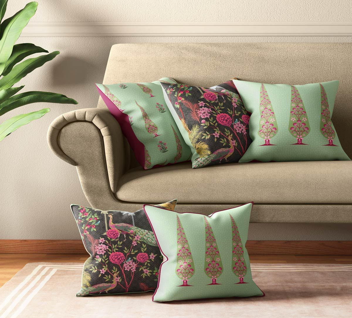India Circus Peacock & Conifer Cushion Cover Set of 5