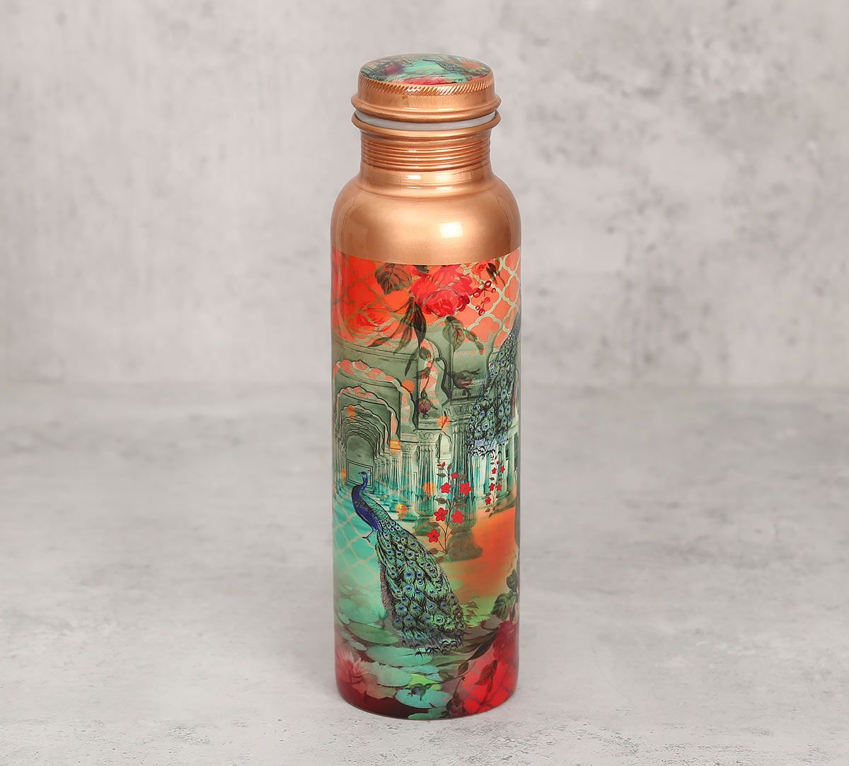 India Circus Peacock Dwar Copper Bottle