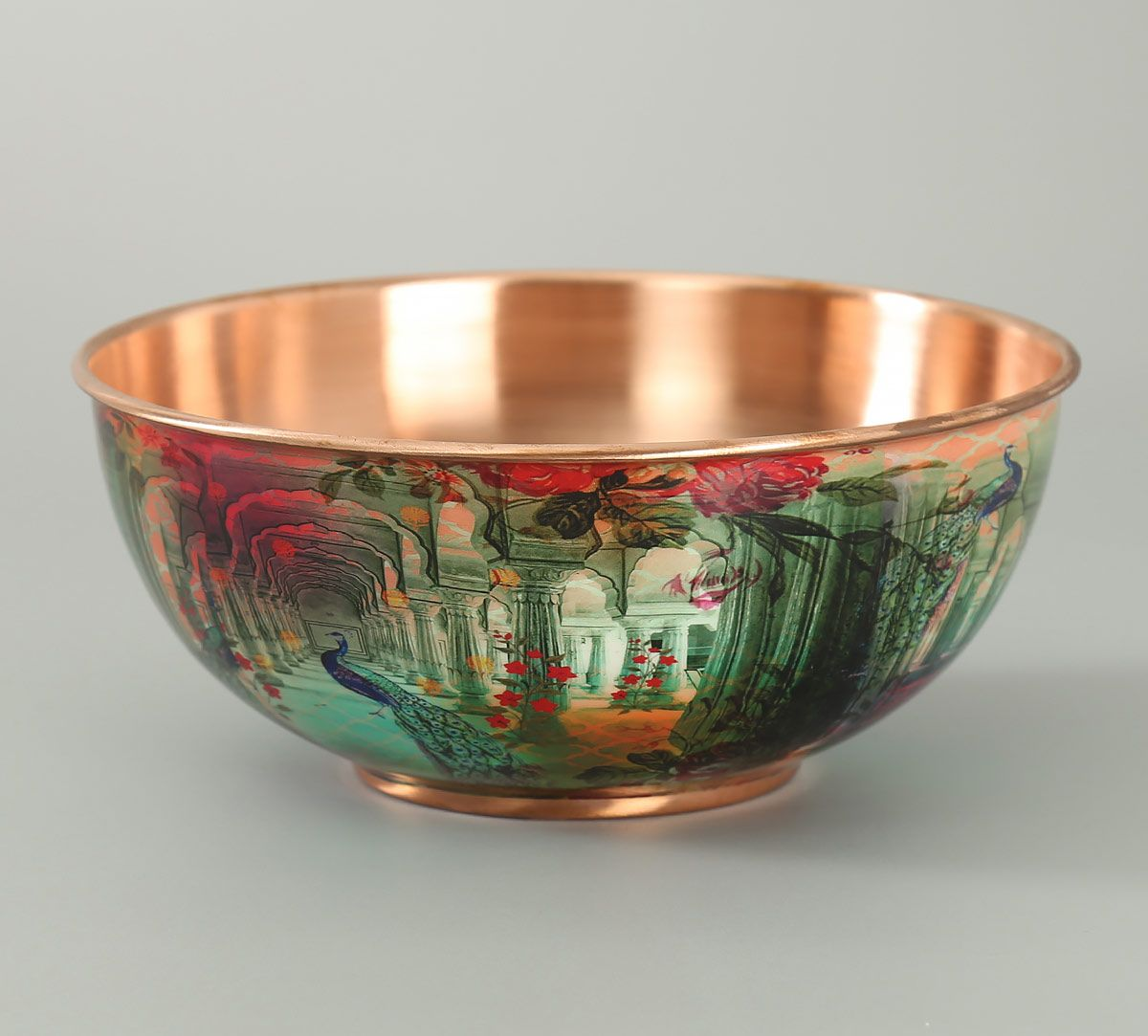 India Circus Peacock Dwar Copper Bowl