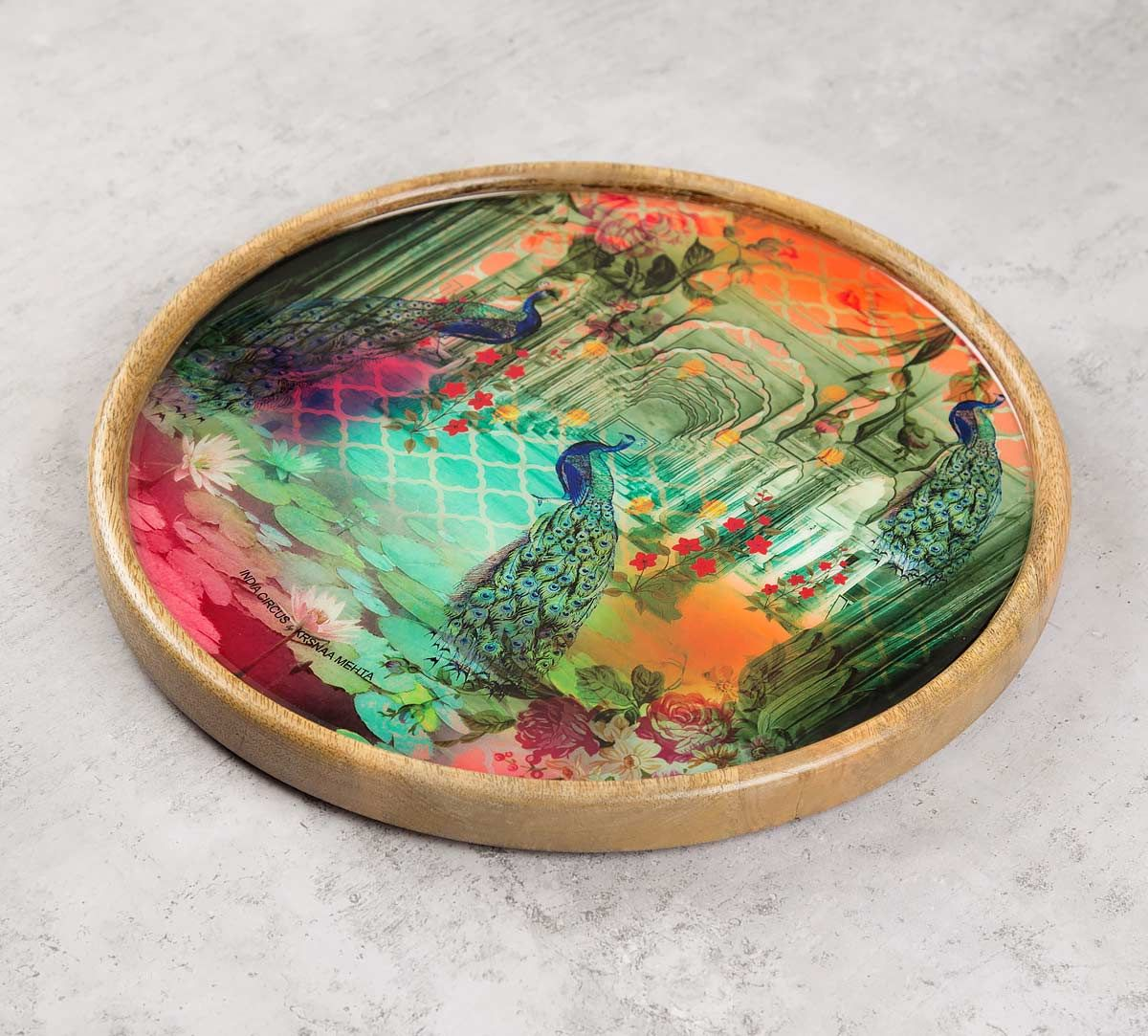 India Circus Peacock Dwar Wooden Wall Plate