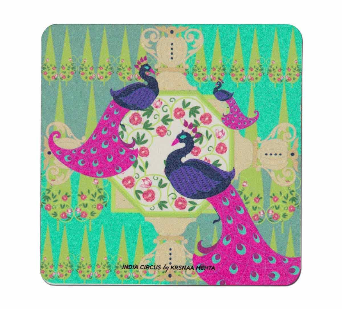 India Circus Peacock Illusion Table Coaster Set of 6