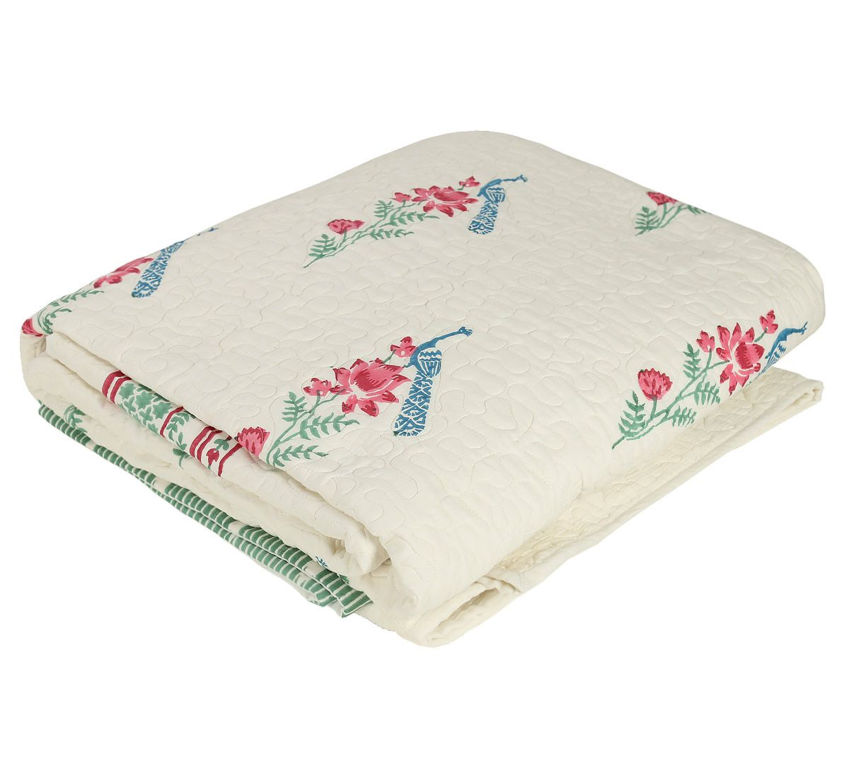 India Circus Perching Peacock Quilted Bed Cover Set