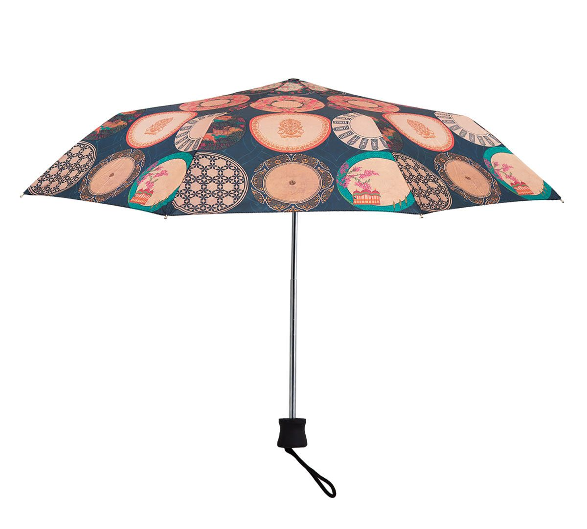 India Circus Platter Portrayal 3 Fold Umbrella