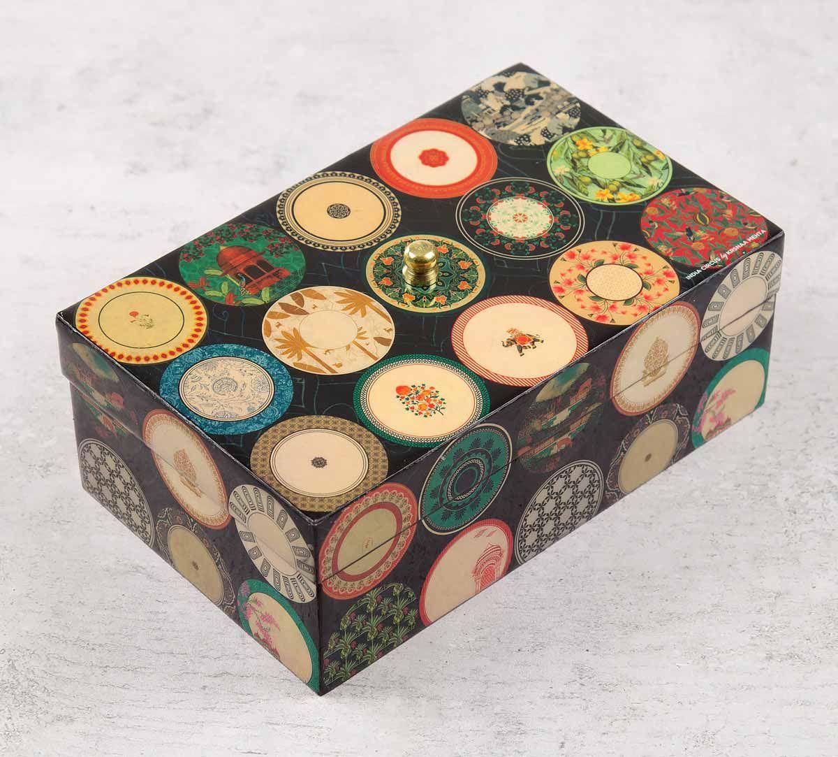 India Circus Platter Portrayal Enameled Storage Box