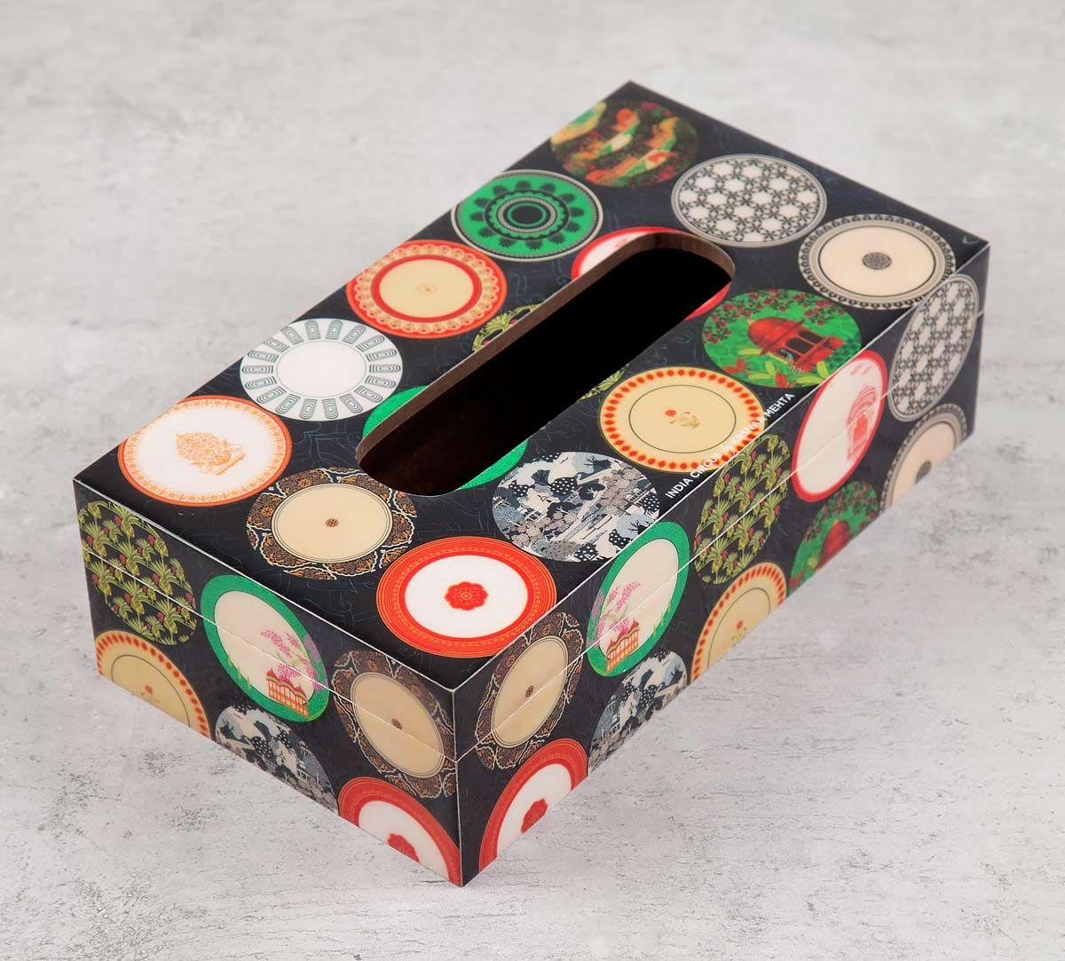India Circus Platter Portrayal Tissue Box Holder