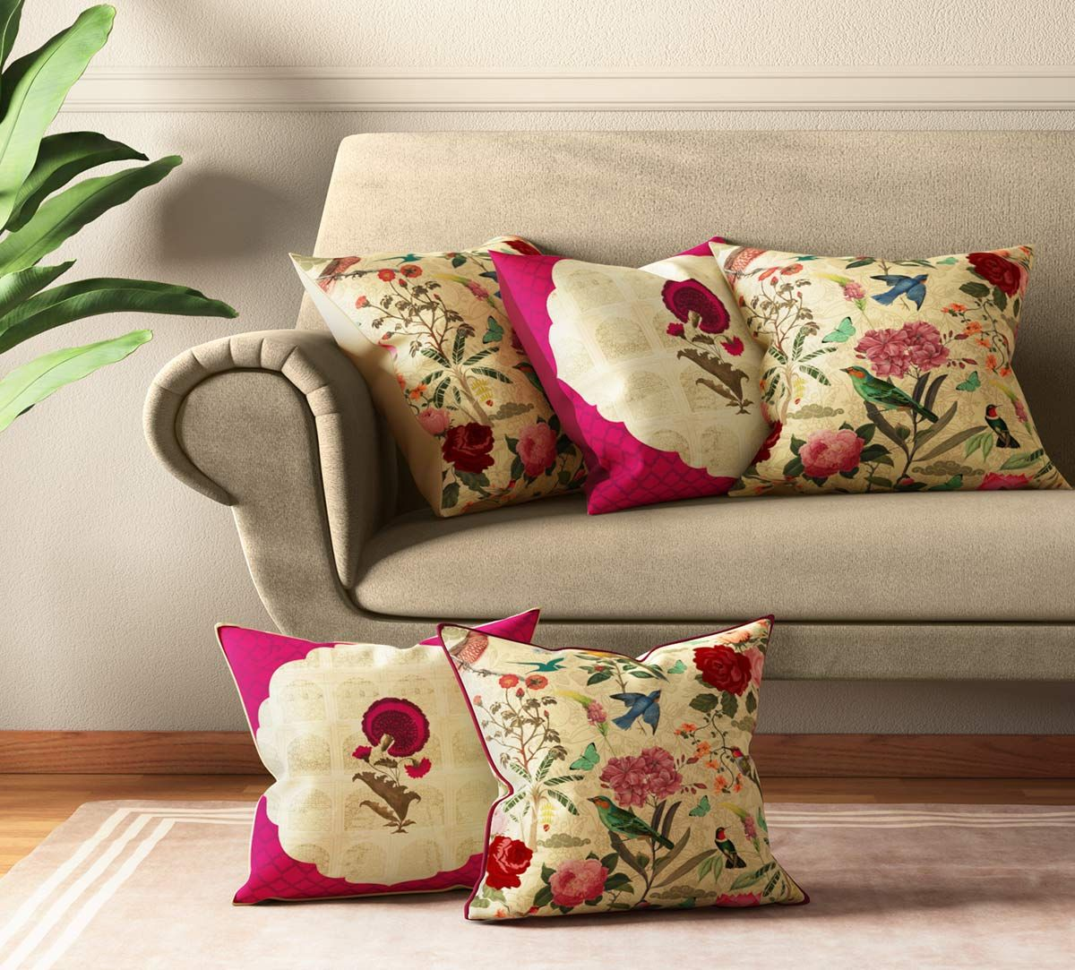 India Circus Poppy Bird Land Cushion Cover Set of 5