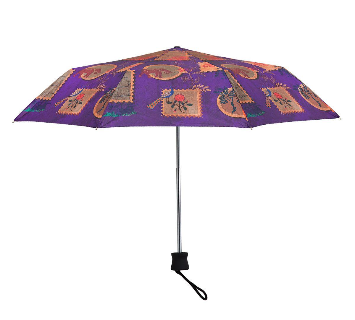India Circus Purple Wildlife Stamps 3 Fold Umbrella