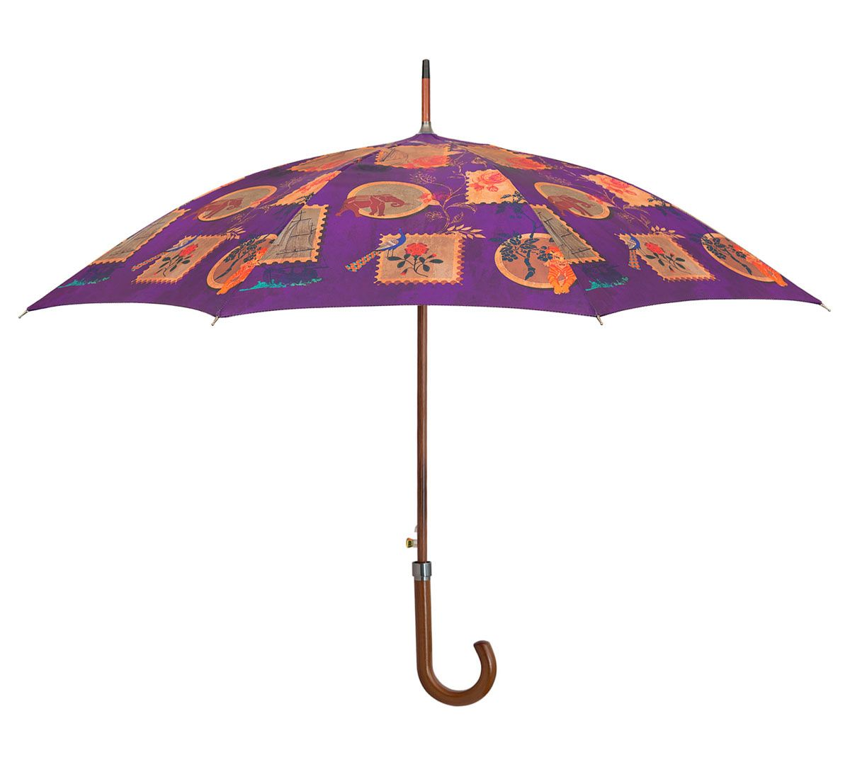 India Circus Purple Wildlife Stamps Umbrella