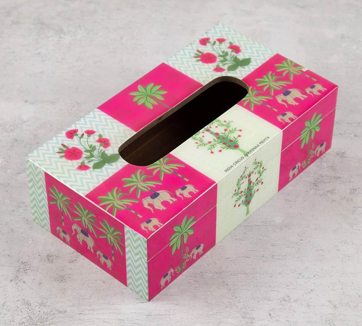 India Circus Quartet Checkers Tissue Box Holder